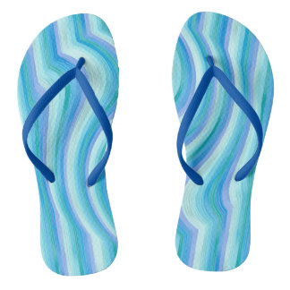 Funny ocean waves stripes flip flops