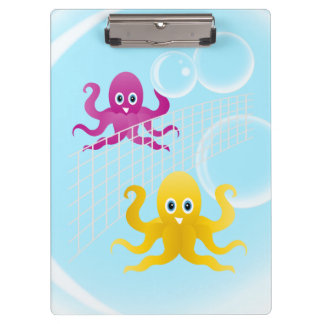 Funny octopies playing volleyball clipboard