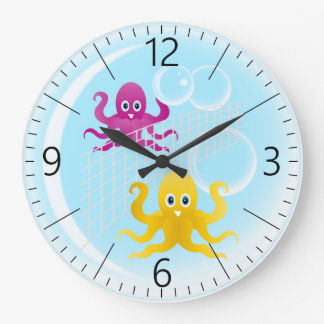 Funny octopies playing volleyball large clock
