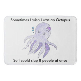 Funny Octopus in the bathroom Bathroom Mat