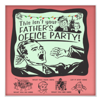 "Funny Office Holiday Party! 5.25"" Square Invitation Card"