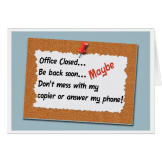 Funny Office Message Bulletin Board Sign Card