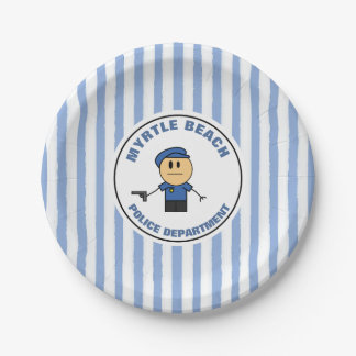 Funny Officer Retirement With Precinct Name Paper Plate