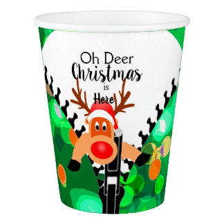Funny Oh Deer Christmas is Here Paper Cup