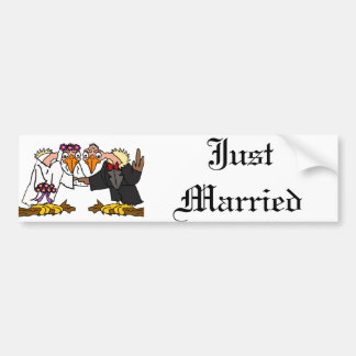 Funny Old Buzzard Wedding Cartoon Art Bumper Sticker