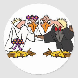 Funny Old Buzzard Wedding Cartoon Art Classic Round Sticker