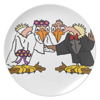 Funny Old Buzzard Wedding Cartoon Art Plate