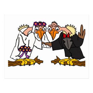 Funny Old Buzzard Wedding Cartoon Art Postcard