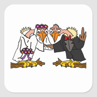 Funny Old Buzzard Wedding Cartoon Art Square Sticker