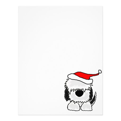 Funny Old English Sheepdog in Santa Hat Personalized Letterhead