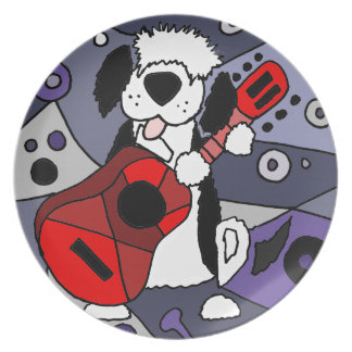 Funny Old English Sheepdog Playing Guitar Art Party Plates