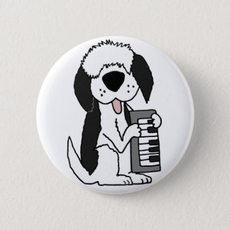 Funny Old English Sheepdog Playing Keyboard 2 Inch Round Button