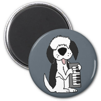 Funny Old English Sheepdog Playing Keyboard 2 Inch Round Magnet