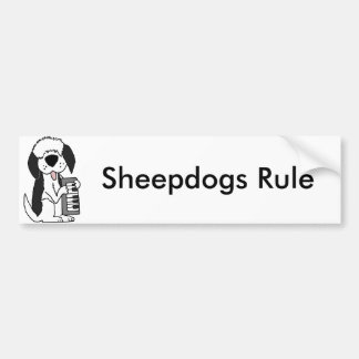 Funny Old English Sheepdog Playing Keyboard Bumper Sticker