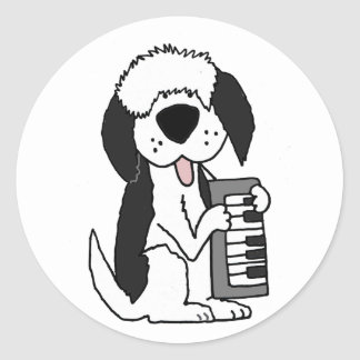 Funny Old English Sheepdog Playing Keyboard Classic Round Sticker