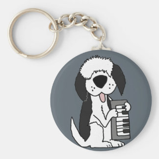 Funny Old English Sheepdog Playing Keyboard Keychain