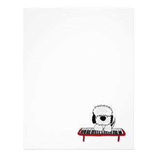 Funny Old English Sheepdog Playing Keyboard Letterhead