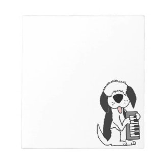 Funny Old English Sheepdog Playing Keyboard Notepads