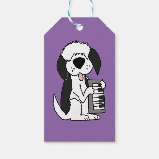 Funny Old English Sheepdog Playing Keyboard Pack Of Gift Tags