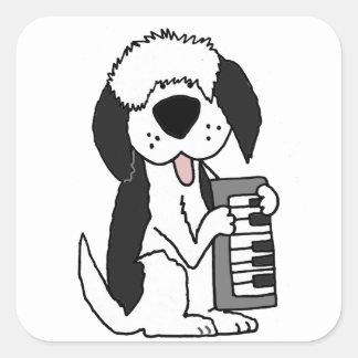 Funny Old English Sheepdog Playing Keyboard Square Sticker