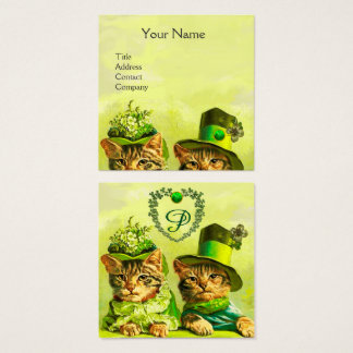 FUNNY OLD FASHION ST.PATRICK'S CATS,HEART MONOGRAM SQUARE BUSINESS CARD