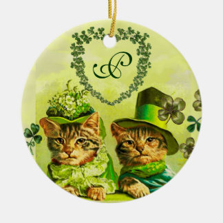 FUNNY OLD FASHION ST.PATRICK'S DAY CATS HEART CERAMIC ORNAMENT