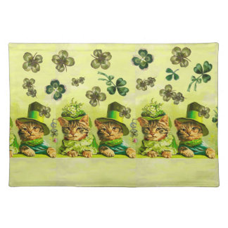 FUNNY OLD FASHION ST.PATRICK'S DAY CATS HEART PLACEMAT
