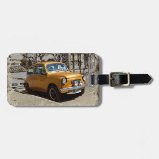Funny old gold car luggage tag