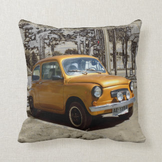 Funny old gold car throw pillow