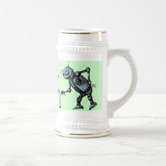 Funny old robot beer mug design