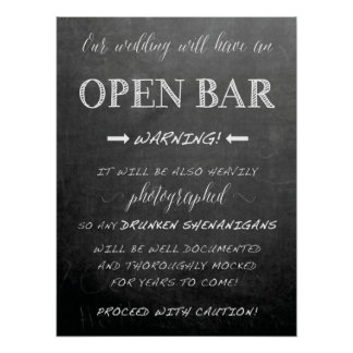 Funny Open Bar Wedding sign | Chalkboard style Poster