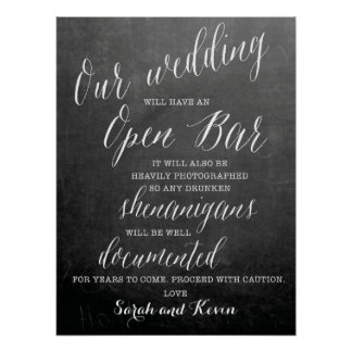 Funny Open Bar Wedding sign   Personalised names Poster