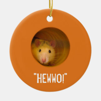 Funny Optical Illusion Rat in Hole Ceramic Ornament