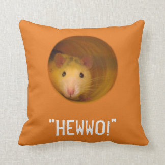 Funny Optical Illusion Rat in Hole Throw Pillow
