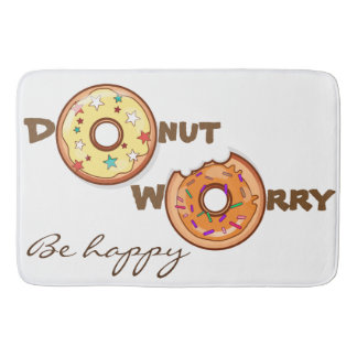 "Funny & optimimistic ""donut worry, be happy"" bathroom mat"