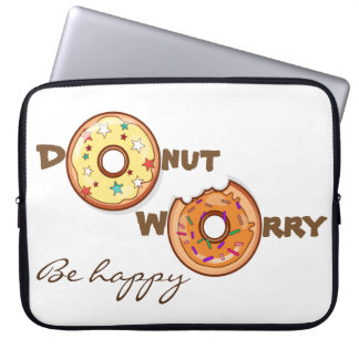 "Funny & optimimistic ""donut worry, be happy"" laptop sleeve"