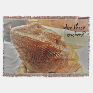 Funny Orange Bearded Dragon Looking Up Throw Blanket