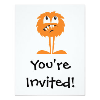 "funny orange furry monster 4.25"" x 5.5"" invitation card"
