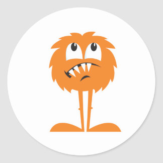 funny orange furry monster round sticker