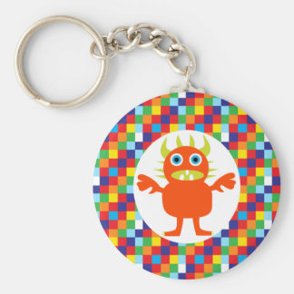 Funny Orange Monster Creature Bright Color Blocks Basic Round Button Keychain