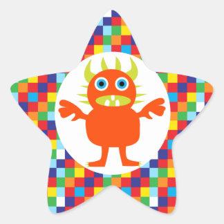 Funny Orange Monster Creature Bright Color Blocks Star Sticker