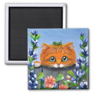 Funny Orange Tabby Cat Flowers Creationarts Square Magnet