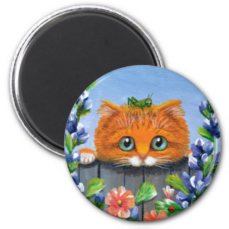 Funny Orange Tabby Cat Grasshopper Creationarts 2 Inch Round Magnet