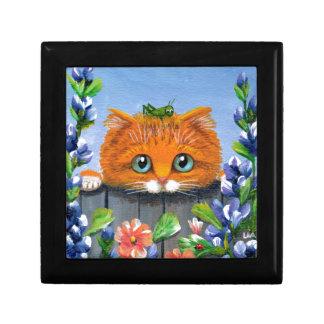 Funny Orange Tabby Cat Grasshopper Creationarts Gift Box
