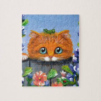 Funny Orange Tabby Cat Grasshopper Creationarts Jigsaw Puzzle