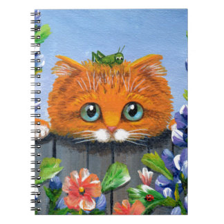 Funny Orange Tabby Cat Grasshopper Creationarts Spiral Notebook