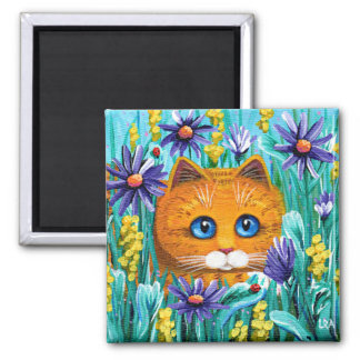 Funny Orange Tabby Cat Mouse Flowers Creationarts Square Magnet