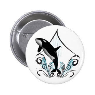 Funny orca 2 inch round button