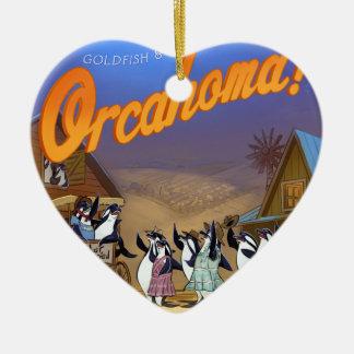 Funny Orca Whale Theater Ceramic Heart Ornament
