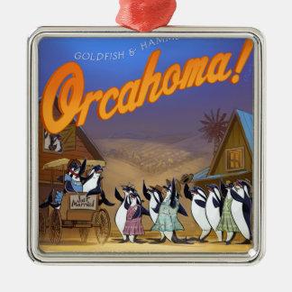Funny Orca Whale Theater Silver-Colored Square Ornament